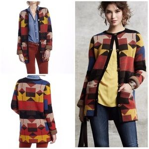 Anthro Sparrow Lodestar Novato Geo Sweater Coat S